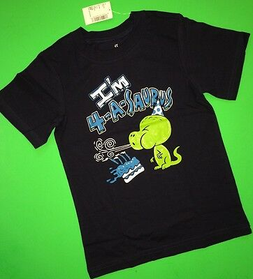 ~NEW 4th Birthday 4 Years Baby Boys Graphic Shirt 5T Gift Dinosaur Blue PARTY SS