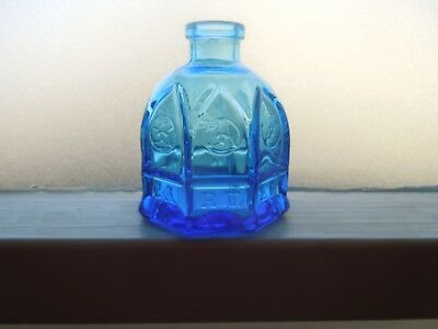 "Wheaton Glass Company Blue 2 1/2"" Carter Cathedral Ink Bottle"
