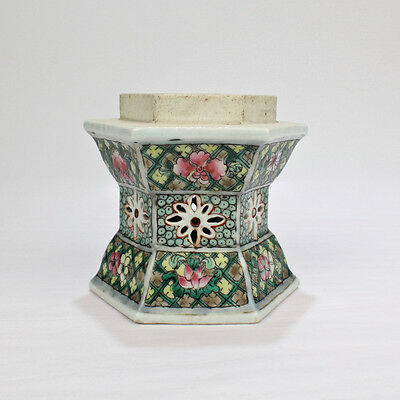 Old or Antique Chinese Export Famille Verte Porcelain Lamp or Lantern Base - PC