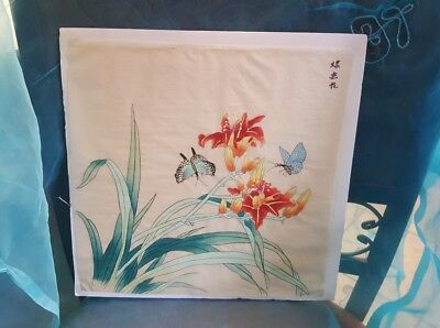 LOT 2: Chinese Silk Picture Screen w/ orchids and butterflies w/ matching scarf
