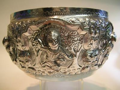 Antique 1890's Madras Swami Dancers Indian Colonial Silver Rose Bowl (44)