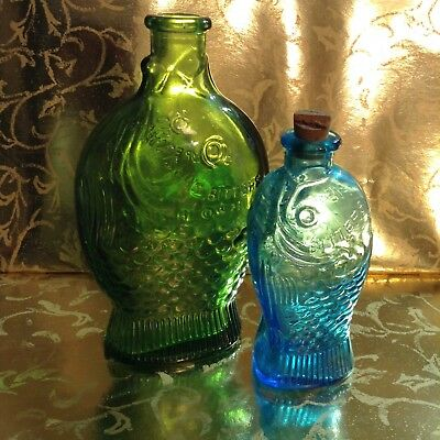 Pair of Dr. Fisch's Bitters Fish Bottles Wheaton & Taiwan Tallest 5 1/8 Inches