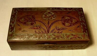 Antique Hand Made & Engraved Wood Lined Copper Box From India