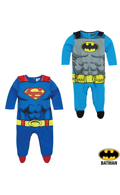 Baby Boys Batman Superman All In One Sleepsuit Babygrow Size 6 Months-24Months
