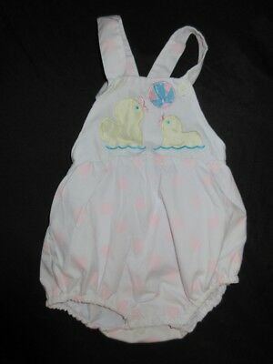 VTG Baby Romper Sunsuit Pink Polka dot Ducks Bodysuit White Beach Ball Summer