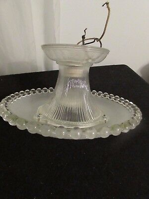Vintage Clear/Frosted Glass Ceiling Light Fixture #2