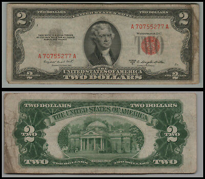 (1)-1953B  $2 Two Dollar Bill  United States Note Red Seal LT V579