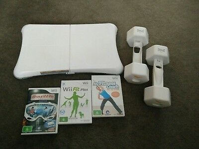 Nintendo Wii Fit Board + Everlast Dumbbells+ Wi Fit Plus, MyFitness Coach game