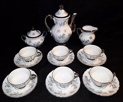 VINTAGE Sterling China Japan 17pc Silver Tea Set, ca.60s, 25th Anniv, exc. cond.