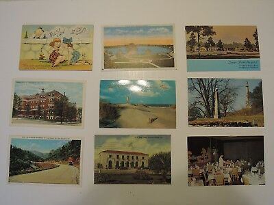 Vintage lot of 9 Postcards from the 1950's & 1960's Historic