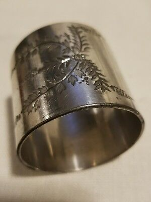 Antique Silver Plated Engraved Napkin Ring