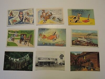 Vintage lot of 9 Postcards from the 1950's Historic