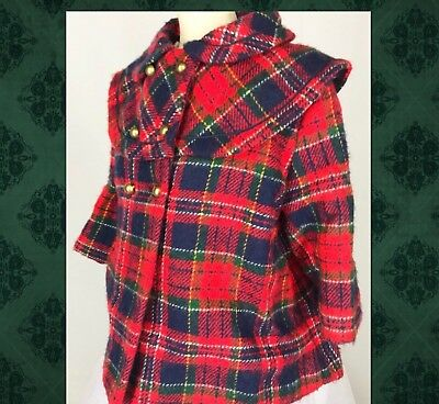 "VTG Girls Sz 8 Approx Red Plaid Coat Sz M Chest 26"" length 17"""