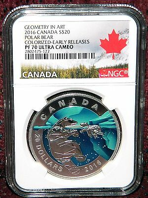 2016 Canada $20 Geometry In Art: Polar Bear Colored Silver Coin - Ngc Pf70 Uc Er