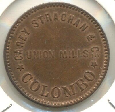 Ceylon, Ca 1872-73 1 cent Token Union Mills Carey Strachan and Co, Colombo