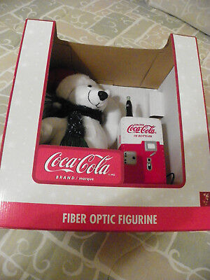 Coca Cola Fibre Optic Polar Bear Figurine with Coke Soda Machine NIB