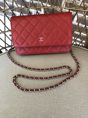 9417f9fb726 ~Nwt Chanel Wallet On Chain Woc In Red Lambskin W pink Lining Pre Fall