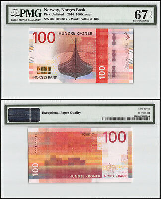 Norway 100 Kroner, 2016, P-NEW, Puffin, PMG 67