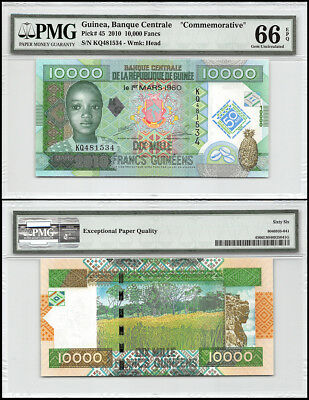 Guinea 10,000 (10000) Francs, 2010, P-45, Head, Commemorative, PMG 66