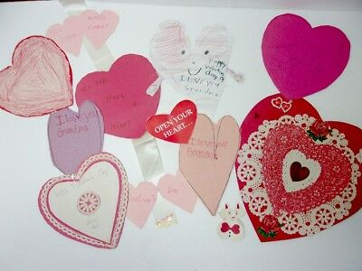 VTG Lot of 10 Hand Made Valentine's Day Cards Crafts Mom Dad Grandma Grandpa