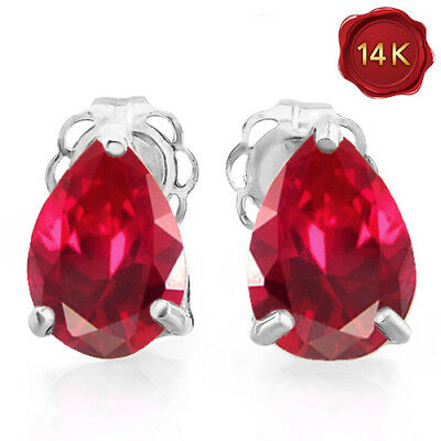 1.81 Carat Created Ruby 14Kt Solid White Gold Tiny Earrings Stud