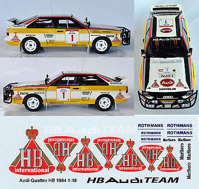 Hb Audi Team Quattro Decals For Autoart 1:18 Model Cars.