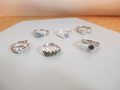 Vintage Rings Lot Some Marked 925 Unique Stone Marcasite Mixed Collection