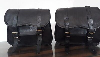 Motorcycle Saddlebags Side Black Leather Pouch Saddle Panniers 2BagsLeft& Right