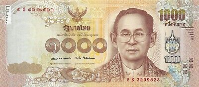 Thailand  20 to 1000  Baht  2017  5 notes set  Kg. Rama IX Uncirculated Banknote