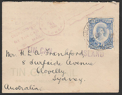 1936 - Tin Can Mail Cover - Multiple Cachet - Addressed To Sydney Australia