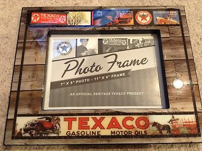 Texaco Picture Photo Frame 5x7 Gasoline Motor Oils Sign Gas Pump Can Star