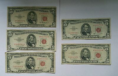 1963-2 1953 A B and C Five Dollar Bill $5 Red Seal United States lot of 5 notes