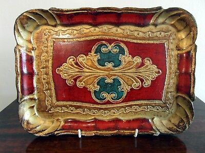 Vintage Wooden Composite Florentine Lacquered Tray with Bright Rococo Design