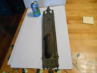 very large antique gothic bronze door plate w/ handle ornate 22 ""