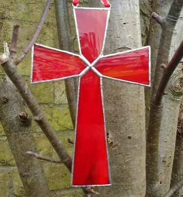 Stained Glass Suncatcher Red (Handmade) Brand New Easter Gift Tiffany Style