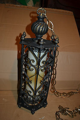 Large Vtg Mid Century Wrought Iron Hanging Swag Ceiling Light Fixture Chandelier