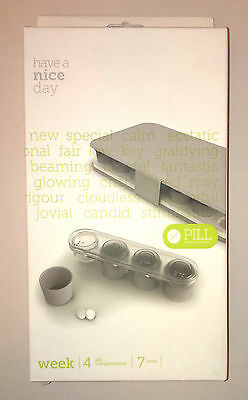 WEEK PILL MANAGEMENT HOLDER w/ BRAILLE 7 x 4-SECTION GREY Removable Cups DAY ROW