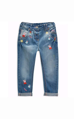 NEXT Baby Girls Peppa Pig Embroidered Jeans 3-6 Months, 6-9 Months