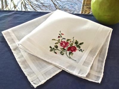 Vintage Valentine Handkerchief Hand Embroidered Petit Point Red Pink Roses Hanky