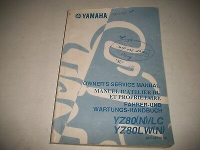 Official 2001 Yamaha Yz80(N)/lc Yz80Lw(N)  Motorcycle  Service Manual