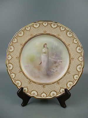 Exceptional Raised Gold HP Royal Doulton Cabinet Plate By A. George - maiden PC