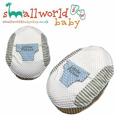 Personalised Boys Grey Stripe And Blue ZigZag Baby Bean Bag (NEXT DAY DISPATCH)