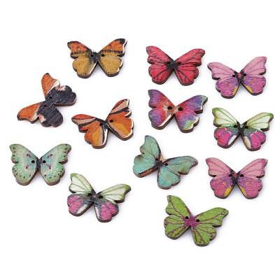 NEW 50X2Holes Mixed Butterfly Shape Wooden Sewing Mend Scrapbooking DIY Button B