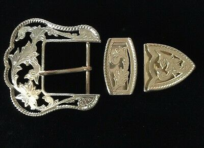 "Western Rodeo Cowboy Filigree 3 Piece Buckle Set For 1 1/2"" Wide Leather"