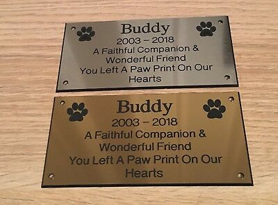 Brass effect & silver Pet Memorial Bench Plaque (Dogs & Cat paw prints)