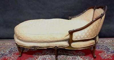French Chaise Sofa  Feather Cushion Carved Acanthus Foliage Motifs