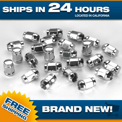 24 Extended Chrome Lugnuts for Chevy / GMC Acorn Bulge 14x1.5 Tall XL Long nut