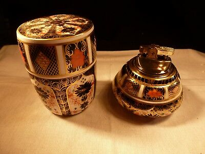 Porcelain China Royal Crown Derby Imari Lidded Box And Ronson Lighter England