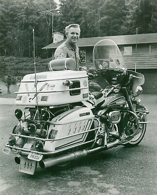 Very Proud Gentleman with HARLEY DAVIDSON Full Dresser/8X10 B&W Photo Reprint