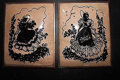 Vintage Pair Of Women Reverse Painted Silhouette Convex Bubble Glass 4 X 5 Frame